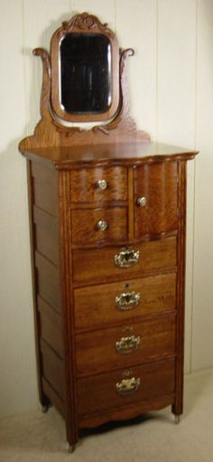 antigue oak lingerie chests | Rare Oak Bonnet Lingerie Chest with mirror