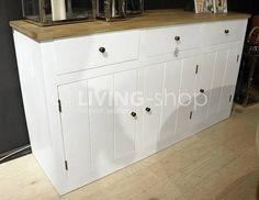 Wit Eiken dressoir in landelijke stijl, of naturel eik dressoir #meubels #landelijk #landelijke #meubelen @ www.LIVING-shop.eu Decor, Furniture, Storage Bench, Cabinet, Home Decor, Storage