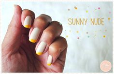 Nude and yellow - Graphic & colorfull french manucure
