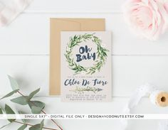 Oh Baby! Shower Invitation, Gender Neutral, Navy, Watercolor, Boho, Rustic [86d]