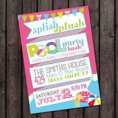 quick ship, Pool Party invitation, customized wording included, printable invitation, pool part water birthday party invitation, pink teal