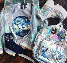 HL  pιnтərəѕт; @нodayaвə13 #holo #holographic #style #tumblr #cool #shoes #bag