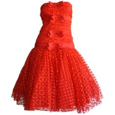 Preowned Incredible Vintage Jill Richards For Elizabeth Arden Red... ($1,050) ❤ liked on Polyvore featuring dresses, red dress, short dresses, red, vintage mini dress, tiered cocktail dress, bow dress, short red cocktail dress and mini dress