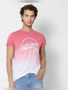 Pink Ombre Crew Neck Text Print T-shirt Off Black, Pink Fabric, Jack Jones, Black Print, Tshirts Online, Half Sleeves, Mens Tees, Neck T Shirt, Denim Shorts