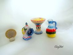 set of 3 ceramic miniatures completely hand-modeled by ClaylArt