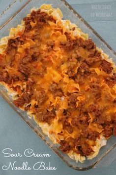 Pioneer Woman's Sour Cream Noodle Bake. Another pinner said Rating: 5/5. Review: Very good - like cheeseburger casserole but very slightly fancier. Used 2 8x10 foil pans, froze one. About four servings.