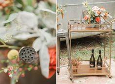 Bohemian Wedding Inspiration, Boho Bride, Flower Crown, Fall Wedding, Bouquet, Nashville Wedding, Dyanna LaMora Photography, Boho Wedding Dress, Drink Cart, Drink Station