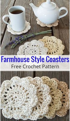Farmhouse Style Crochet Coasters I have rounded up some of the best and interesting free crochet coaster patterns for your home. These patterns will really amaze you because they are beautiful as well as pretty much easier and quicker to make. Crochet Kitchen, Crochet Home, Crochet Crafts, Crochet Projects, Free Crochet, Knit Crochet, Crochet Coaster Pattern Free, Diy Crochet Doilies, Thread Crochet