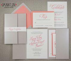 Coral Shimmer Wedding Invitation by JankunCreativeStudio on Etsy