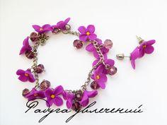 Easy flower bracelet. (translate)  #Polymer #Clay #Tutorials