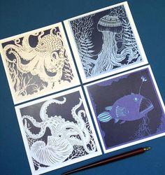 Deep sea set - pack of 4 papercut greetings cards of octopus, jellyfish, paper nautilus and anglerfish