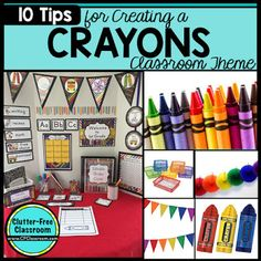 Photos, ideas & printable classroom decorations to help teachers plan & create an inviting crayons themed classroom on a budget. Lots of free decor tips & pictures. Crayon Themed Classroom, Preschool Classroom Themes, Kindergarten Themes, Toddler Classroom, Free Preschool, Classroom Organization, Classroom Ideas, School Decorations, School Themes