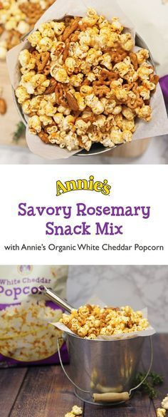 Step up your snack game with this slammin' Savory Rosemary Snack Mix! All you need is Annie's Organic White Cheddar Popcorn, plus Annie's Organic Bunny Pretzels, raw almonds, smoked paprika, garlic powder, cayenne pepper, and rosemary. Perfect for the big game or anytime you're craving a lil somethin' savory.
