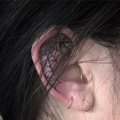 12 Delightfully Dark Tattoos For Your Inner Goth : 12 Delightfully Dark Tattoos For Your Inner Goth Take a walk on the dark side with these gorgeous tattoos reminiscent of the goth subculture. Rebellen Tattoo, Goth Tattoo, Grunge Tattoo, Dark Art Tattoo, Tattoo Hals, Piercing Tattoo, Ear Piercings, In Ear Tattoo, Tattoo Neck