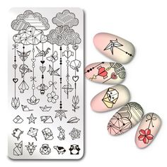 1Pc Rectangle Stamping Plate Origami Pattern Manicure Nail Art Plate L040