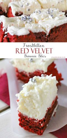 Frostbitten Red Velvet Brownie Bites are delicious bite sized red velvet brownies topped with cream cheese frosting, sparkling sugar & snowflake sprinkles. They are delicious! Perfect for Christmas or Valentines Day! on kleinworthco.com
