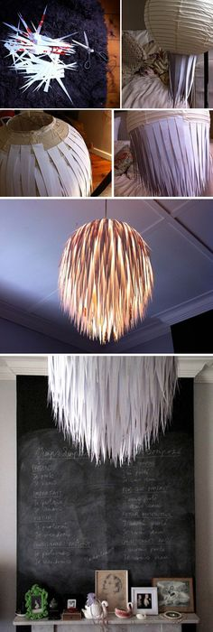 Paper scrap light fixture. Fun for craft room!