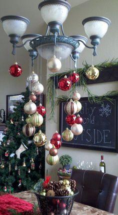 Christmas Chandelier.   Use silver balls on our Sputnik chandelier