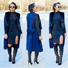 Coat with thigh high boots