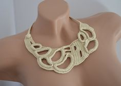 Beige Crocheted Necklace  Statement Jewelry  by MomDaughterCraft, €21.00