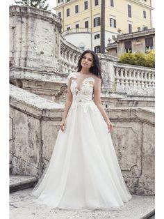 BIG FLOWERS EMBROIDERED BRIDAL DRESS - Rhea Costa-Shop