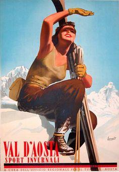Italian ski poster   Gino Boccasile (1901-1952)