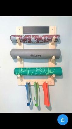Yoga Mat Rack with Pegs handcrafted yoga decor workout Yoga At Home, At Home Gym, Yoga Dekor, Home Gym Design, Gym Decor, Yoga Equipment, Yoga Bag, Yoga Pants, Workout Rooms