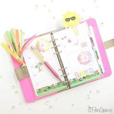 Summer theme in my Fluoro Pink Filofax Original.