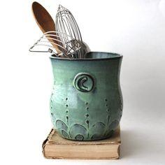 Monogram Kitchen Utensil Holder - Verdigris Sea -  Aqua Mist French Country Home Decor - Made to Order