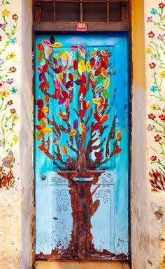 Ayvalık, Turkey Cool Doors, Unique Doors, Stairs Window, Doorway, Door Entryway, Entrance Doors, Unique Buildings, Beautiful Buildings, When One Door Closes