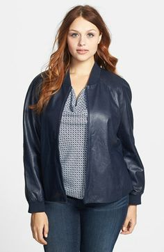 Halogen® Embossed Leather Jacket (Plus Size) available at #Nordstrom
