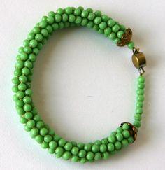 Vintage Mid Century Green Glass Beaded Czech Bracelet 1950s.