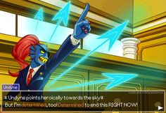 Cornered - Undyne: Ace Attorney by iisjah.deviantart.com on @DeviantArt.    NGAHHH! Enough warming up!  Another Undertale fanart! Just because I can! This time of everybody's favourite fish lady Undyne! :D I got inspired by this orchestral remix of Spear of Justice - Undyne's battle theme. It would fit perfectly with other orchestrated Ace Attorney cornered themes! https://www.youtube.com/watch?v=P9lVvp9DxEg She would make a great and very determined attorney!