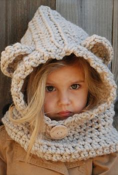 Cute hooded cowl for kids.