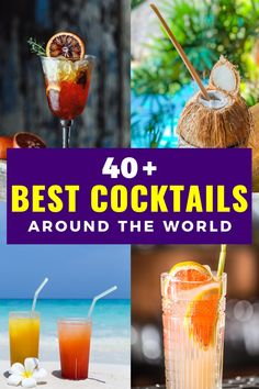 Trying international cocktails is one of the best parts of traveling or even staying at home. Here are the most popular drinks in the world including gin, vodka, rum, wine, beer, cachaca and more. Best cocktail recipes. Best cocktails to order at a bar. Best cocktails for a party. Best cocktail recipes. Party drink recipes. #cocktails #spirits #drinks #rumcocktails #rumdrinks #gincocktails #gindrinks Popular Cocktail Recipes, Popular Drinks, International Cocktails, International Recipes, Party Food And Drinks, Bar Drinks, Fun Cocktails, Cocktail Drinks, Around The World Food
