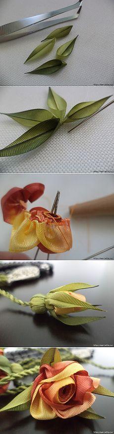Миниатюрные цветы из ленточек. Мастер-классы