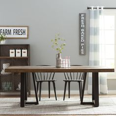 Found it at Wayfair - Adell Dining Table Decor, Dining Table In Kitchen, Modern Dining Table, Live Edge Dining Table, Furniture, Farmhouse Style Table, Wood Dining Table, Solid Wood Dining Chairs, Dining Table