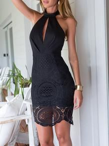 Perfect dress to wear to a fall wedding. Beautiful lace backless dress. Elegant dress for a party or dinner and drinks. Sleeveless and knee length with halter a