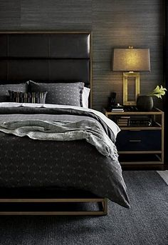 The urban sophistication of Art Deco lives on in Oxford, a furniture collection destined to command attention in the master bedroom. Defined by clean lines and material contrast, the nightstand traces each angle with room-defining geometry. Men's Bedroom Design, Bedroom Colors, Home Decor Bedroom, Bedroom Ideas, Budget Bedroom, Ikea Bedroom, Bedroom Inspiration, Girls Bedroom, Mens Room Decor