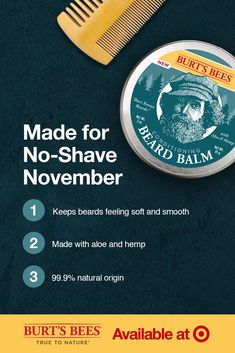 The whole line of Burt's Bees® men's skin care products are made to support healthy skin year round. But our conditioning Beard Balm really shines during No-Shave November. Keep facial hair soft and smooth with Burt's special blend of hemp and aloe plus other nourishing botanical ingredients. It's the easy way to keep facial hair looking great, naturally. Burts Bees Mens, Extremely Funny Memes, Liza Soberano No Make Up, Bee News, Black Men Beards, Beard Styles For Men, Beard Balm, Skin Care Treatments, Hair Health