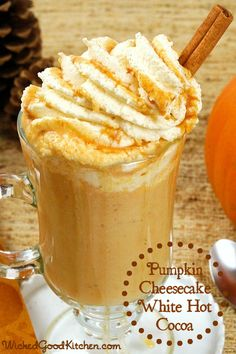 Pumpkin Cheesecake White Hot Cocoa by WickedGoodKitchen.com ~ Cozy white hot chocolate just got better with the addition of Trader Joe's® Pumpkin Butter! #dairyfree #glutenfree #vegan | pumpkin recipes, desserts, drinks