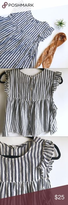 """Aeropostale Stripe Ruffle Top Adorable light blue and white ruffled sleeve slightly cropped shirt with cute little buttons going down the back. In great preloved condition! Bust measures 21"""" Aeropostale Tops Blouses"""