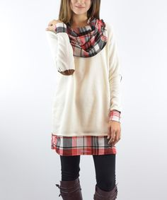 This éloges Cream & Red Plaid Drape Neck Tunic by éloges is perfect! #zulilyfinds