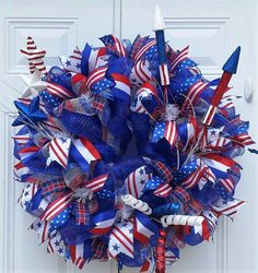 4th of July Wreath Patriotic Mesh Wreath by StudioWhimsybyBabs