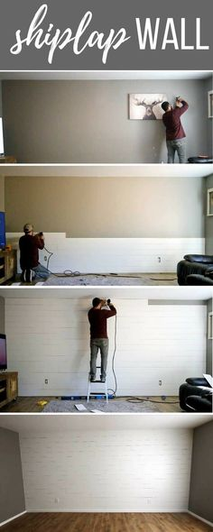 9 Cheap And Easy Tricks: Wainscoting Shelf Board And Batten faux wainscoting benjamin moore.Wainscoting Shelf Board And Batten wainscoting foyer crown moldings. Farmhouse Side Table, Farmhouse Decor, Farmhouse Style, Farmhouse Plans, Fixer Upper, Painting Shiplap, Diy Painting, Painting Walls, Diy Step By Step