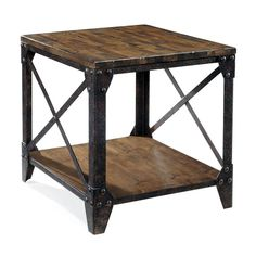 Magnussen Home Pinebrook Distressed Natural Pine Rectangular End Table