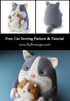 Booper the Cat Free Sewing Pattern Plus Bonus Tiny Patterns! Booper the Cat Free Sewing Pattern Plus Bonus Tiny Patterns!,Sewing Patterns Free Cat Sewing Pattern and Tutorial by Fluffmonger—PDF Cat and Guinea Pig sewing. Animal Sewing Patterns, Sewing Patterns Free, Free Sewing, Pattern Sewing, Plush Pattern, Cat Pattern, Free Pattern, Doorstop Pattern, Sewing Stuffed Animals