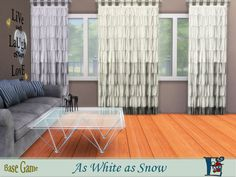 A set of five snow white curtains which are recolors of my favorite game's curtain  Found in TSR Category 'Sims 4 Downloads'