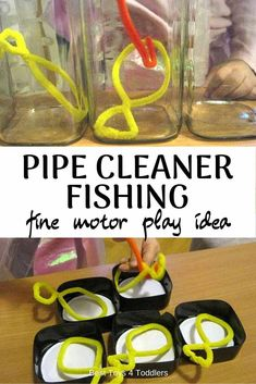 travel idea for toddlers Best Toys 4 Toddlers - Pipe Cleaner Fishing Game for Toddlers provides ways to work on fine motor skills and hand-eye coordination Fine Motor Activities For Kids, Motor Skills Activities, Toddler Learning Activities, Games For Toddlers, Infant Activities, Fine Motor Skills, Fun Activities, Parenting Toddlers, Outdoor Preschool Activities