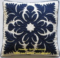 "18"" Hawaiian Quilt Handmade Applique Pillow Covers"